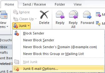 Junk E-Mail Options