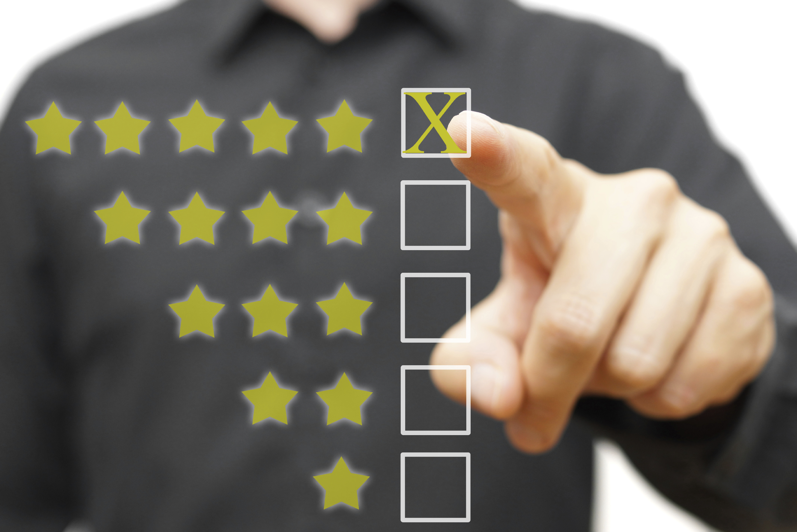 employee completing a performance review at work
