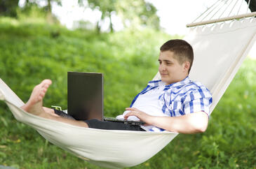 generation-y employee using technology to work remotely