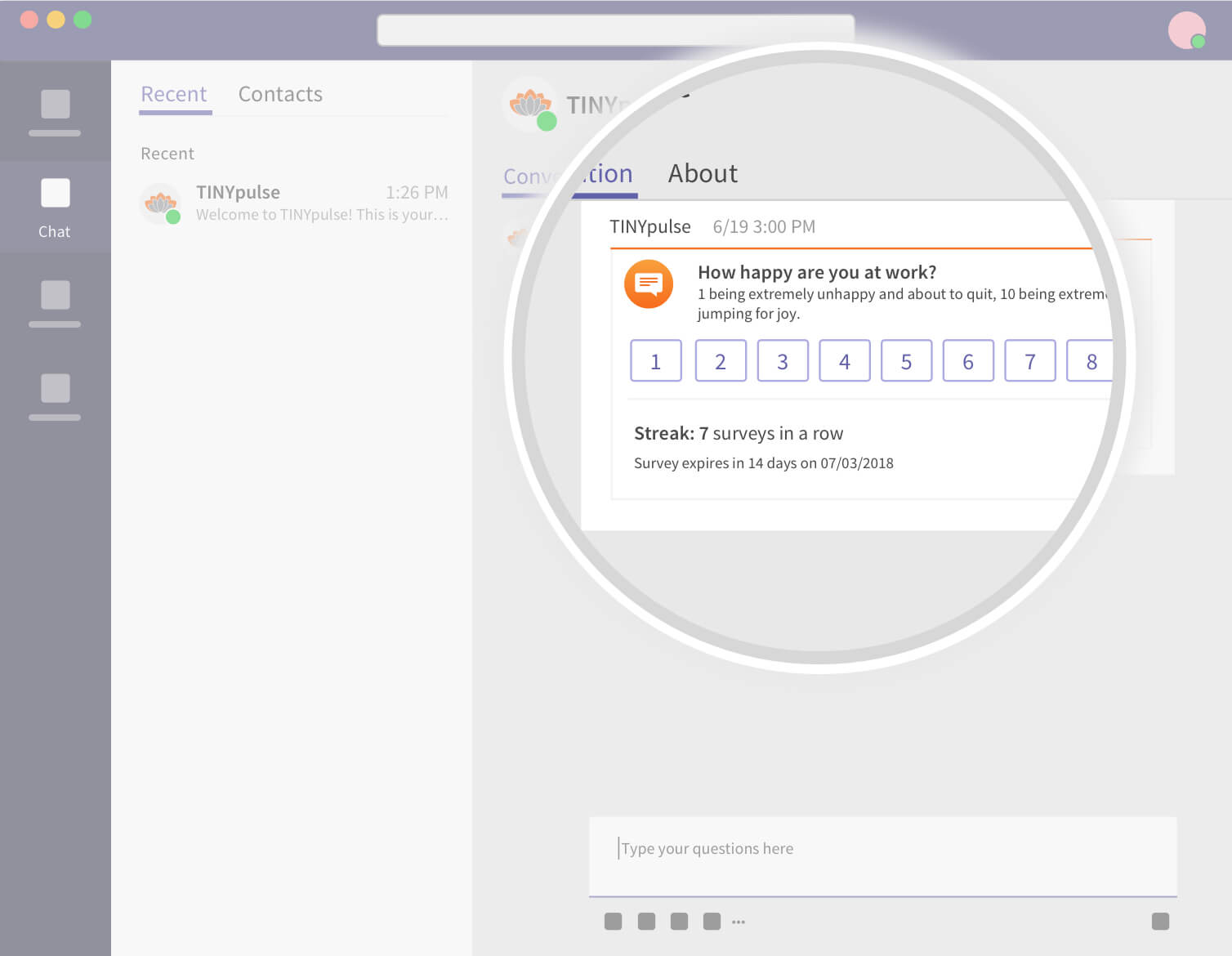 Stylized screenshot of TINYpulse in Microsoft Teams