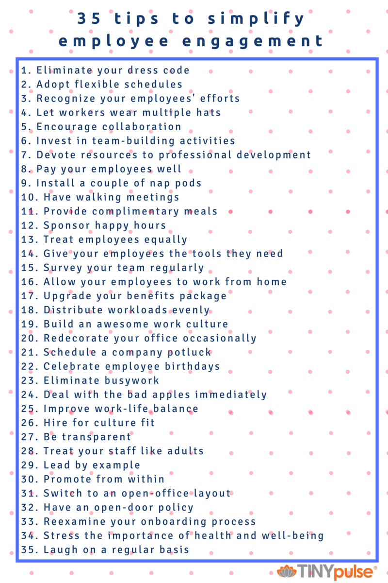 35 Tips to Simplify Employee Engagement by TINYpulse