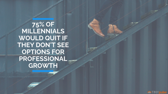 75% of millennials will quit if they don't see options for professional growth