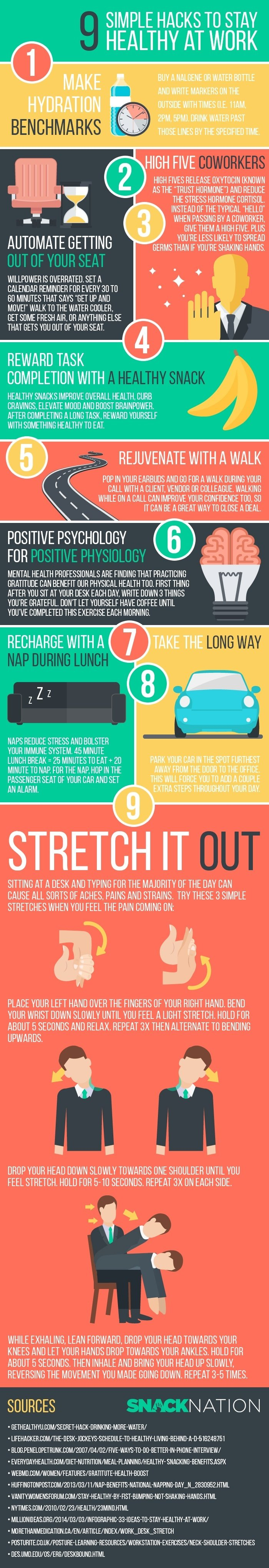 9 Tricks to Staying Healthy at Work [Infographic] - by TINYpulse