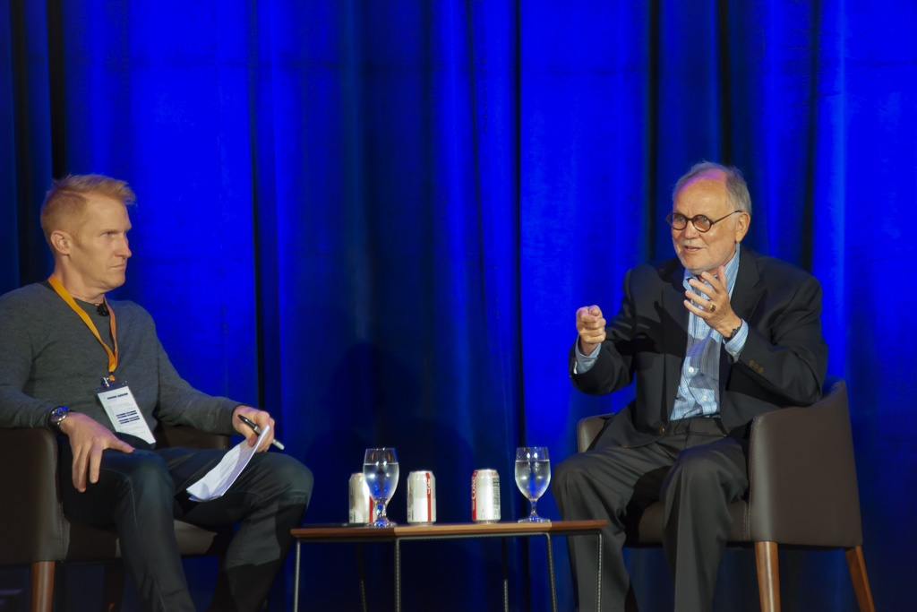 Howard Behar on stage with Steve Anderson