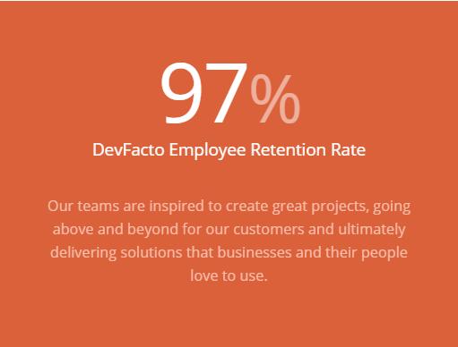 DevFacto Retention Rate is 97%