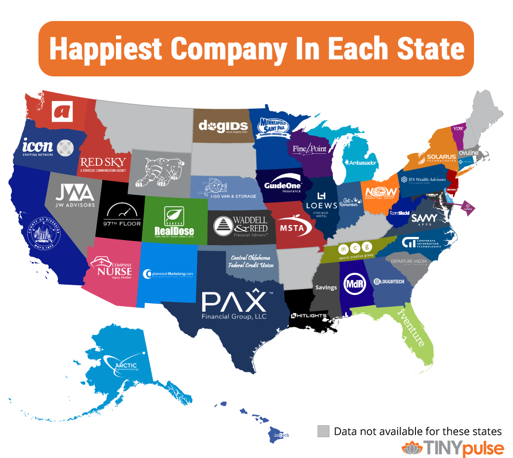 Happiest company in each state - by TINYpulse