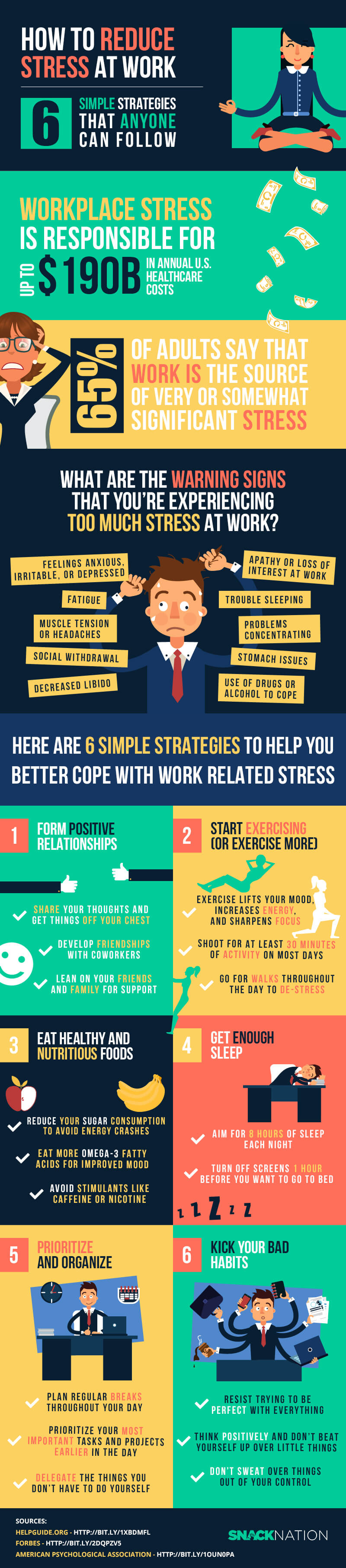 How to reduce work stress - infographic