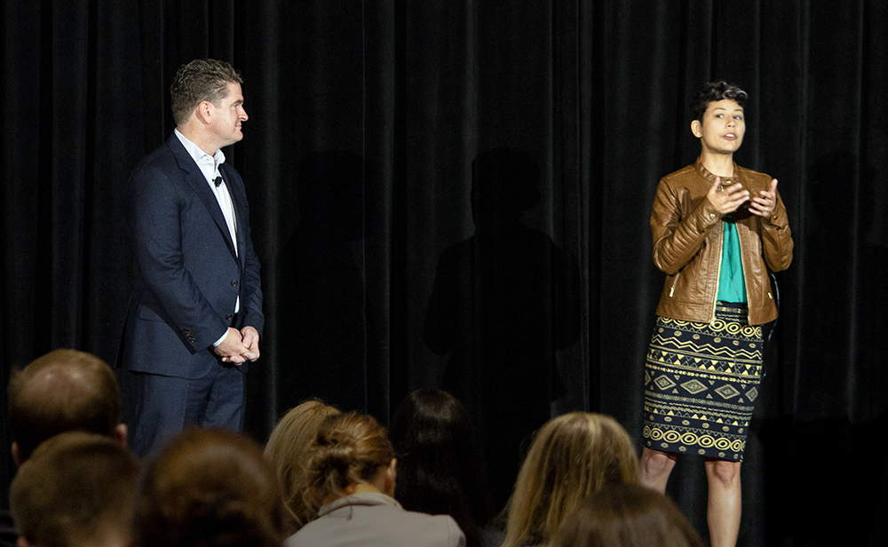 Aaron Burnett and Cindy Larson speak at TINYcon 2018.