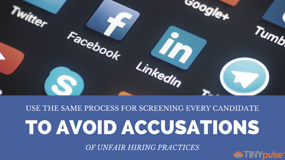 Screening candidates' social media profiles