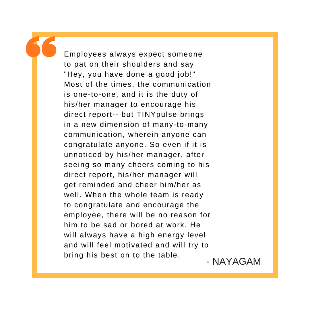 A quote from Nayagam about the value of employee recognition, also contained in the text of the post.