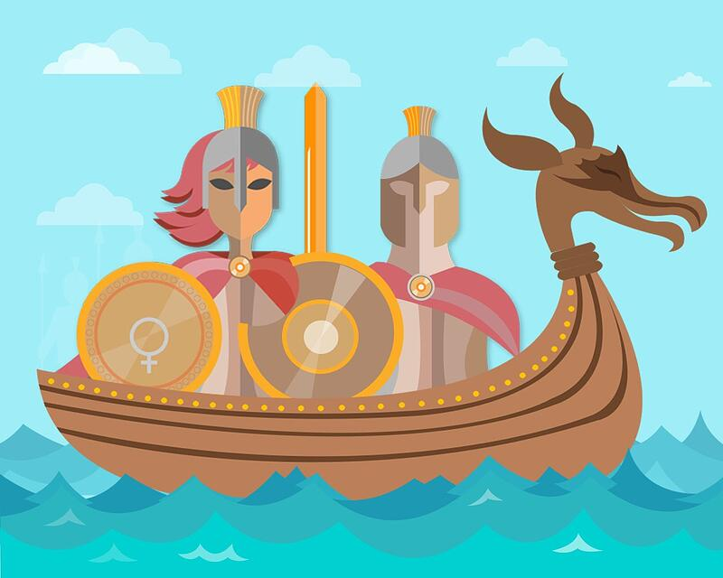 Vikings-on-boat-with-swords-and-shields