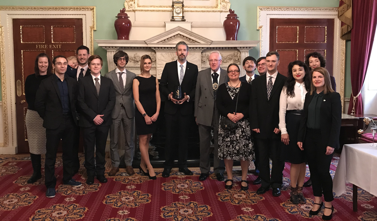 Some of the Reincubate team (Aidan Fitzpatrick's in the center) with the Lord Mayor of the City of London.