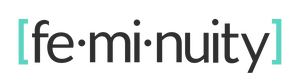 "feminuity's logo - the word ""feminuity"" in black with syllable marks and bracketed in aqua"