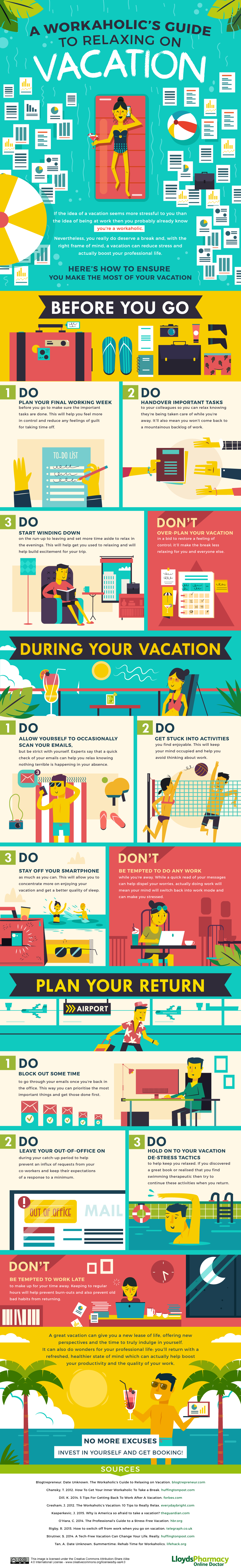 workaholic's guide to relaxing on vacation - infographic