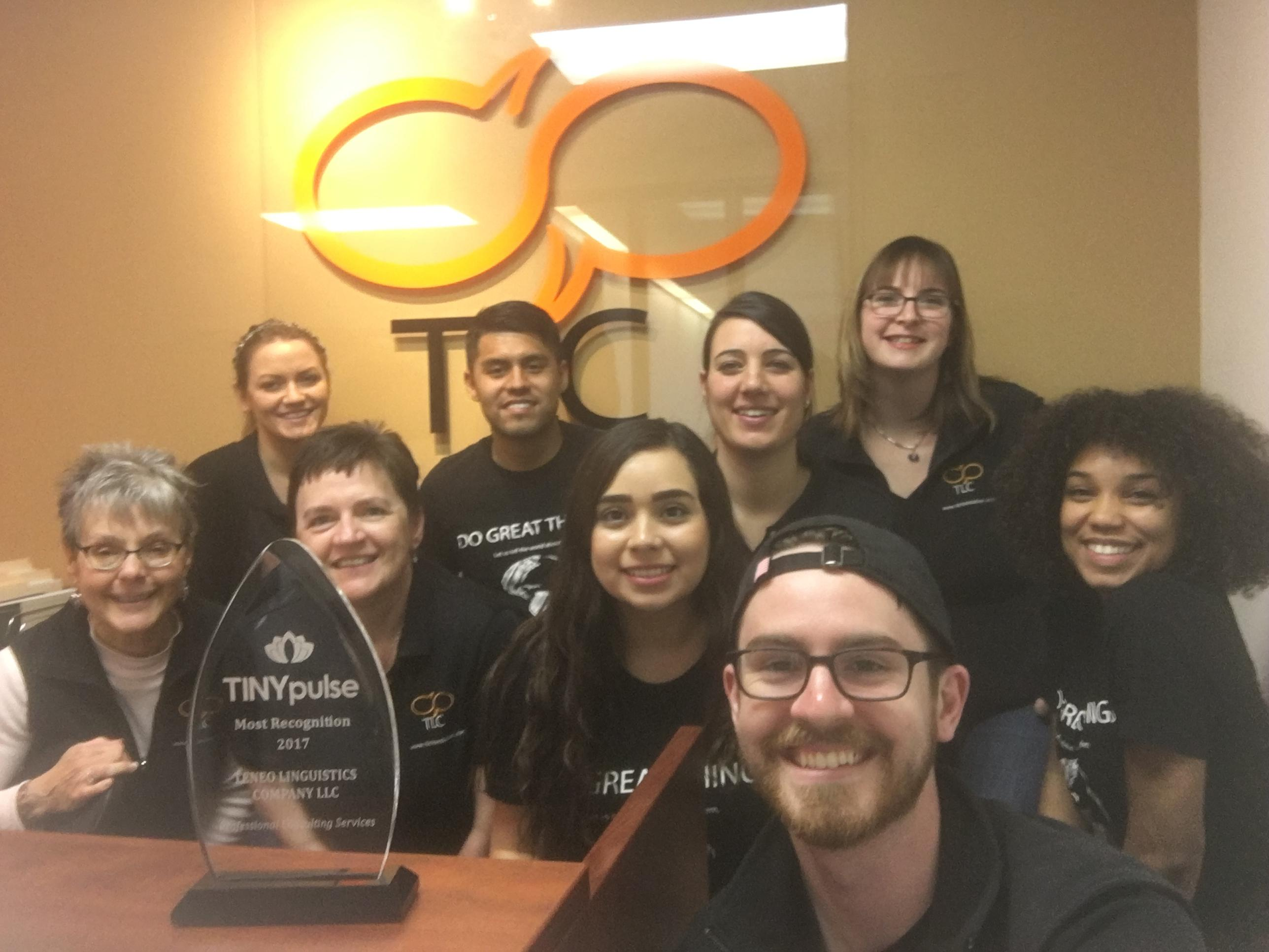 The TLC team posing with their TINYaward